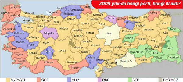 2009 Yılında Hangi İli Hangi Parti Aldı?
